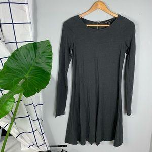 Express Long Sleeve Swing Charcoal Gray Mini Dress